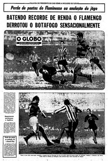 apa do caderno esportivo de O Globo. Fla venceu o Botafogo por 2 a 1, Fluminense assumiu a liderança isolada do campeonato