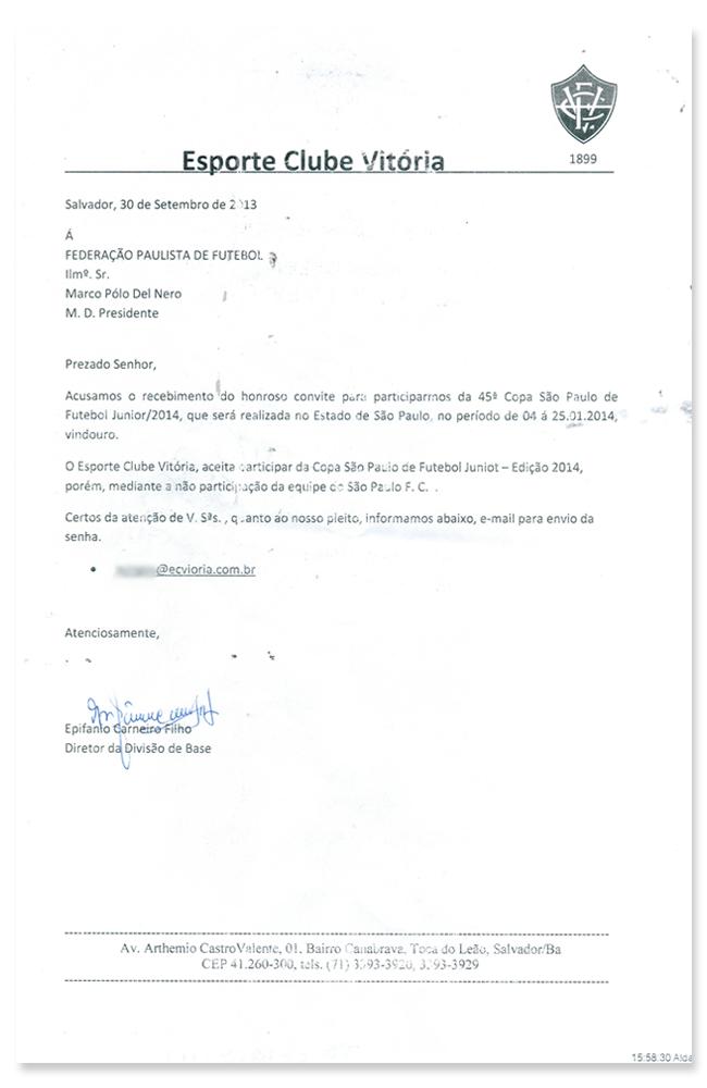 O ESPN.com.br teve acesso ao modelo do documento enviado pelos clubes