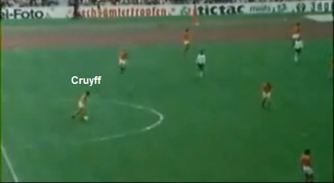 Flagrante de Cruyff como último homem da Holanda na final da Copa de 1974.