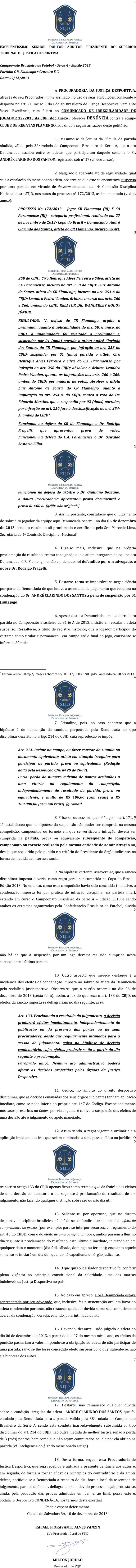 Denúncia da Procuradoria Geral do Superior Tribunal de Justiça Desportiva contra o Flamengo