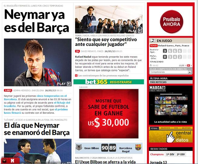 Marca deu como principal manchete a ida de Neymar ao Barça