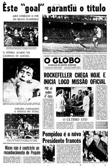 Primeira página de O Globo no dia seguinte à decisão do campeonato carioca