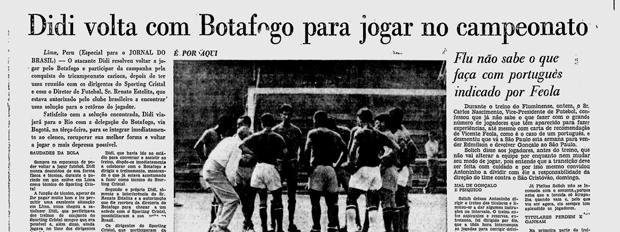 Didi volta ao Botafogo