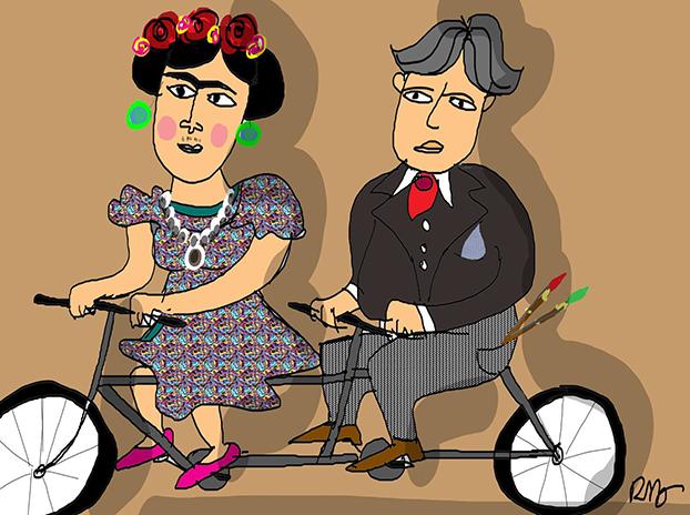 O cartunista Reynaldo Berto se inspira nos passeios à moda antiga para homenagear Frida