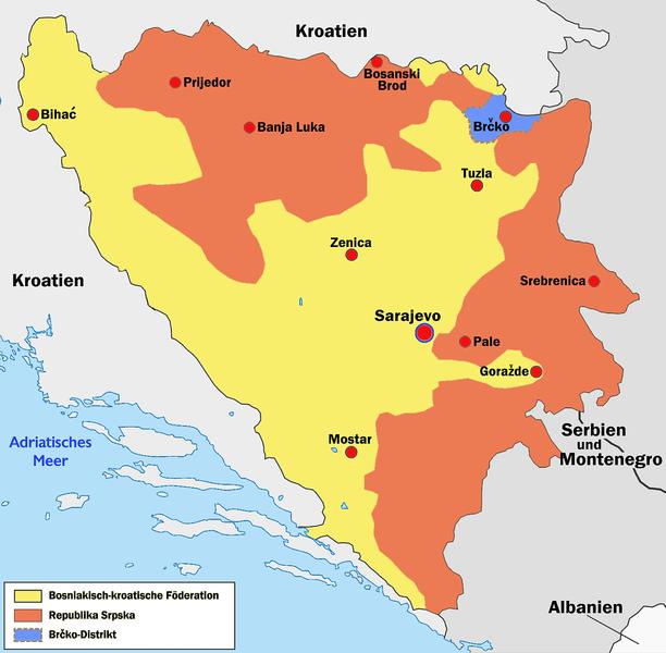 Mapa da Bósnia