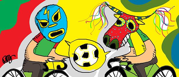 Reyberto imagina o duelo Brasil x México, sempre na bike