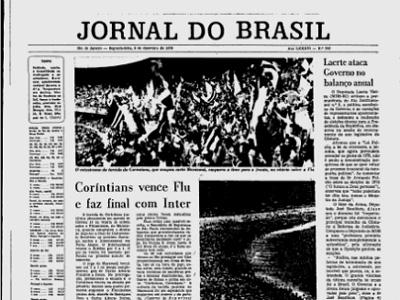 O Jornal do Brasil na primeira página do dia 6 de dezembro de 1976: derrota tricolor no Rio
