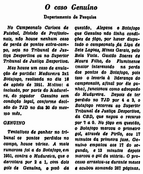 O caso Genuíno de 1951, no JB: 18 anos antes o Botafogo tentou utilizar recurso na justiça