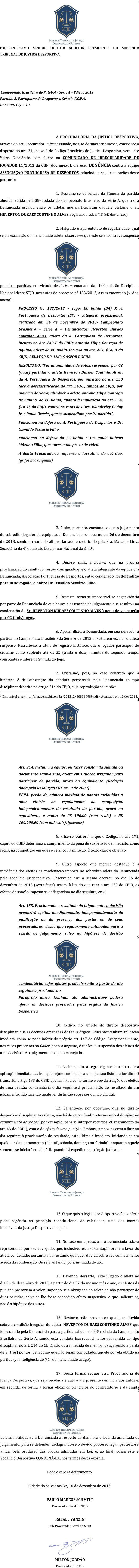 Denúncia da Procuradoria Geral do Superior Tribunal de Justiça Desportiva contra a Portuguesa