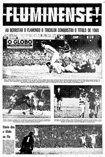 Capa do caderno esportivo de O Globo celebrando a conquista alcançada pelo Fluminense