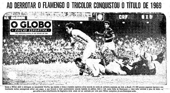 Detalhe da cobertura do jogo decisivo em O Globo: mais de 171 mil pessoas foram ao Maracanã