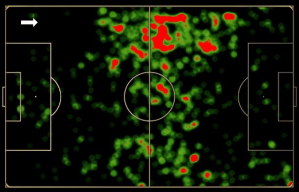 Mapa de toques do Fluminense no clássico: forte presença pela esquerda, setor de Chiquinho, Wagner e Conca, porém sem profundidade.