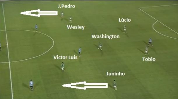 Saída de bola palmeirense com trio de volantes no meio e laterais João  Pedro e Juninho c4b683cca4bea