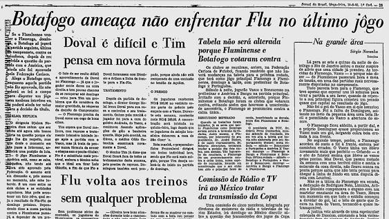 Botafogo ameça não jogar com Fluminense, informa o JB
