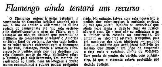 Fla ainda tentará um recurso, informa O Globo