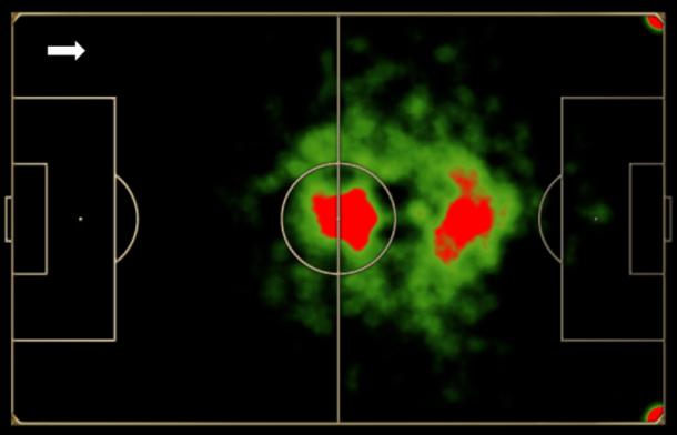 Mapa de toques de Alex no último Brasileiro pelo Coritiba: típico meia que articula pelo centro e sai pouco pelos lados.