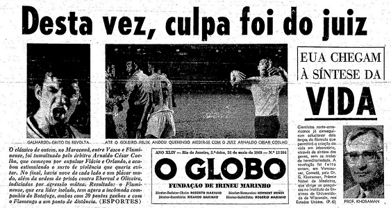 Jornal O Globo no dia seguinte ao jogo Fluminense x Vasco que teve Flávio expulso