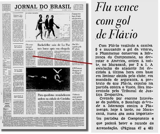 Capa do JB de domingo, detalhe sobre a vitória do Fluminense com gol de Flavio: liminar