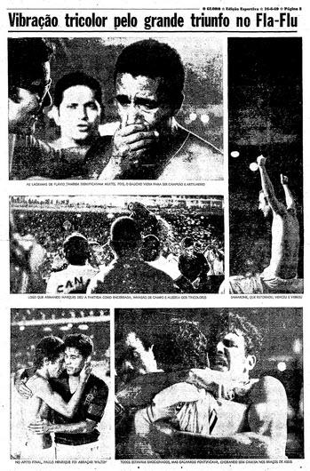No dia seguinte à decisão, mais uma página do caderno esportivo de O Globo
