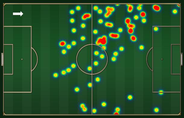 Mapa dos toques de Seedorf na partida: muita posse de bola e concentração pela esquerda.