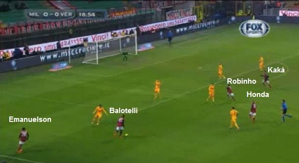 Flagrante da movimentação ofensiva do Milan: Balotelli pela esquerda, com Emanuelson passando pelo corredor e Honda, Kaká e Robinho próximos no centro