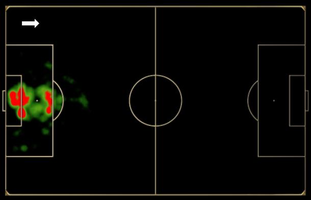 Mapa de toques de Neuer na Copa do Mundo: com zaga adiantada, o goleiro saiu mais da área que o habitual.