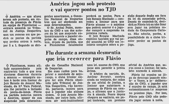 Cobertura do Jornal do Brasil  no domingo sobre os fatos do jogo disputado no sábado