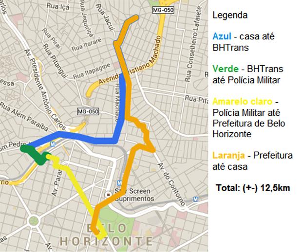 O trajeto feito está demonstrado no mapa e teve duração, com as paradas, de 1h15min.