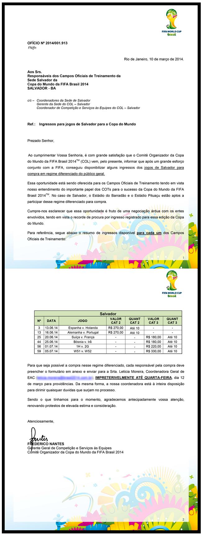 Reprodução de documento encaminhado pelo COL em março