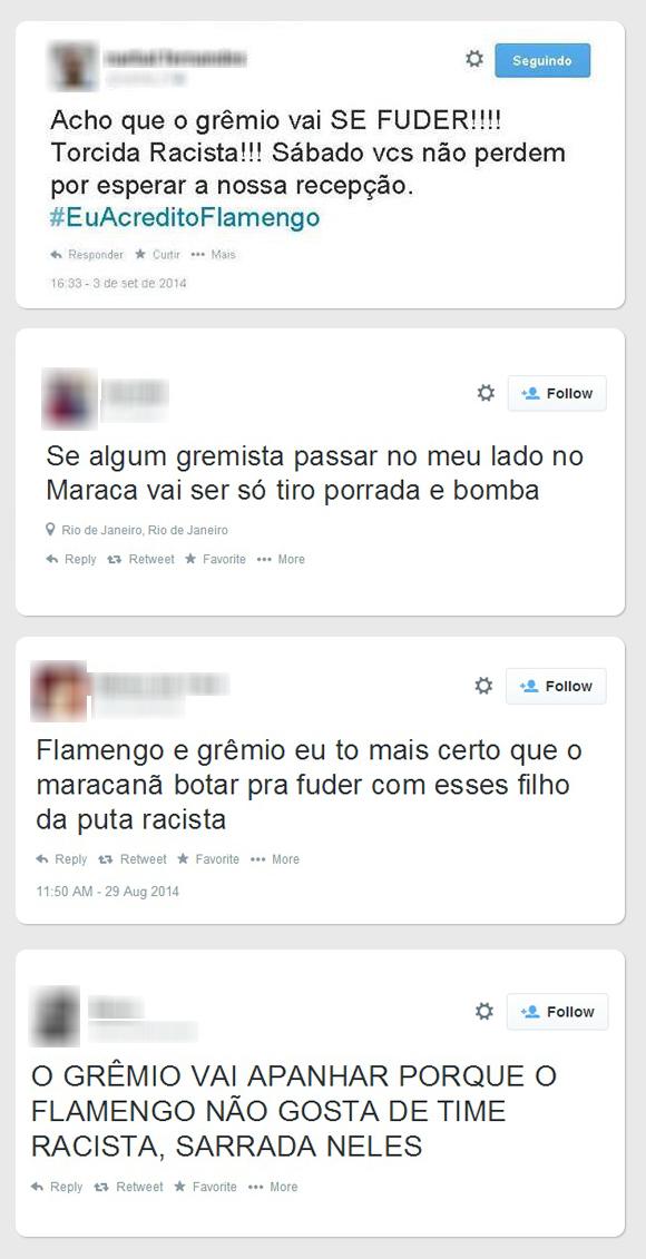 Ameaças - Grêmio via Twitter