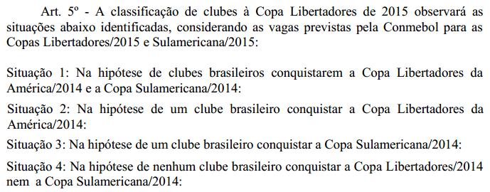 Cenários descritos no regulamento do Brasileirão: nenhum prevê Copa do Brasil com mesmo campeão