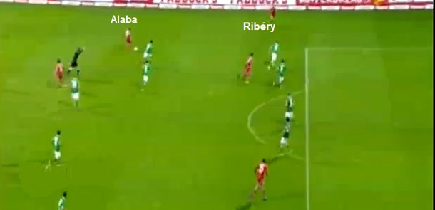 Flagrante de Alaba apoiando por dentro para criar vantagem numérica no meio e Ribéry aberto espaçando a marcação pela esquerda, ambos com liberdade.