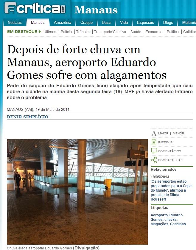 Site do jornal A Crítica mostra o alagamento do aeroporto de Manais após a chuva: perto da Copa