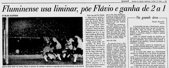 Cobertura do JB sobre a partida: primeiros parágrafos da coluna de Armando Nogueira, escrita pelo interino Sergio Noron