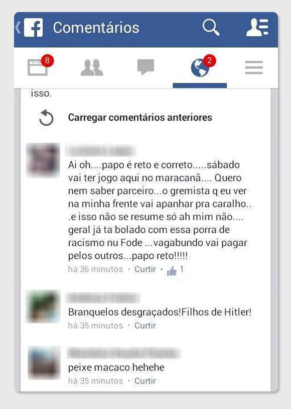 Ameaças - Grêmio via Facebook