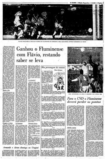 Página de O Globo no caderno de esportes da segunda feira tratando do jogo de sábado