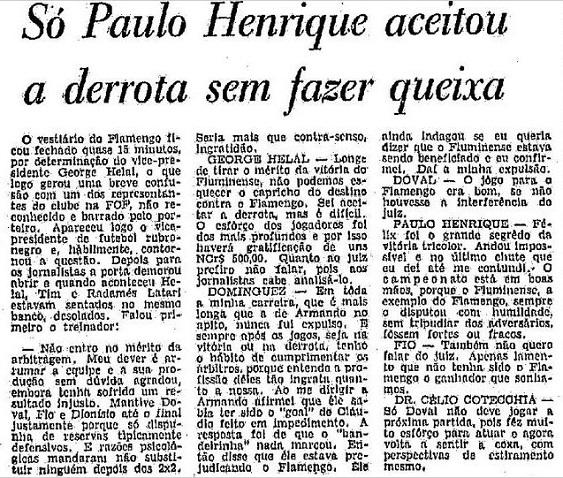 Matéria de O Globo com a repercussão do lado rubro-negro após a final