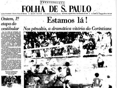 Primeira página da Folha de S. Paulo no dia seguinte ao triunfo do Corinthians no Maracanã