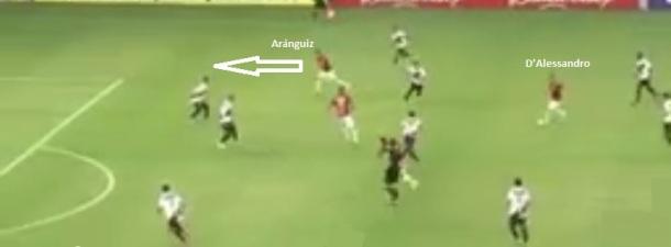 D'Alessandro corta da direita para dentro e lança Aránguiz infiltrando como ponteiro: jogada forte do Inter no primeiro gol da equipe no Brasileiro.