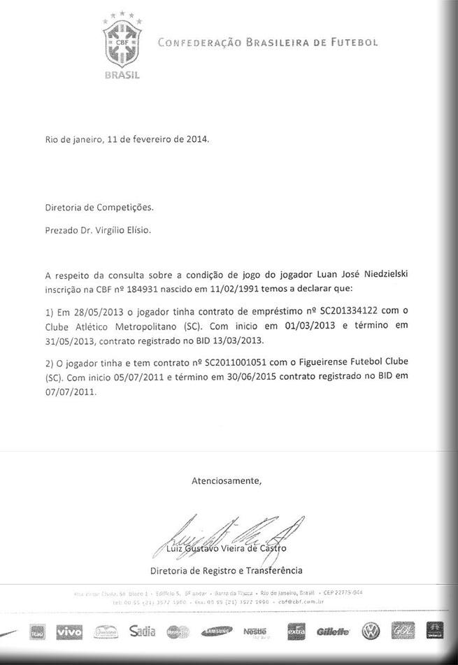 Despacho da Diretoria de Registro e Transferência da CBF comprova que Luan tinha contratos com Metropolitano e Figueirense