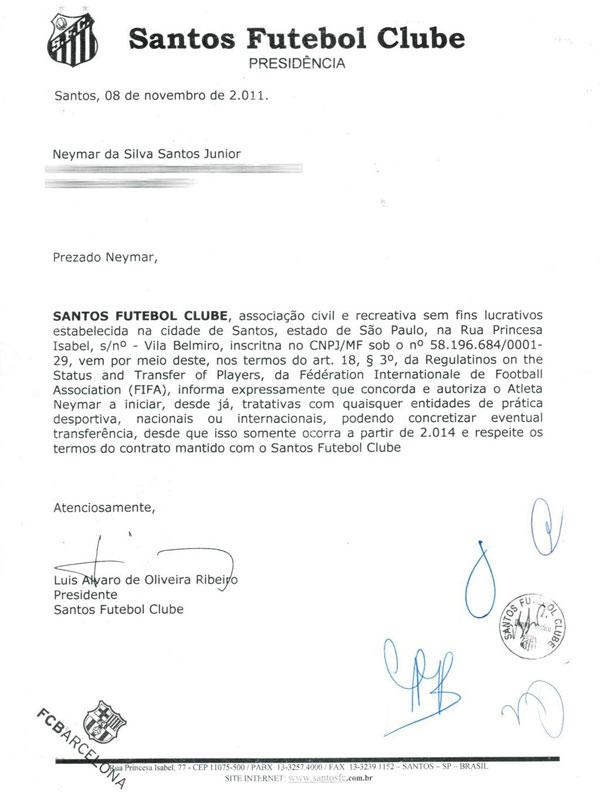 Documento mostra que Santos autorizou Neymar a negociar com outros clubes em 2011