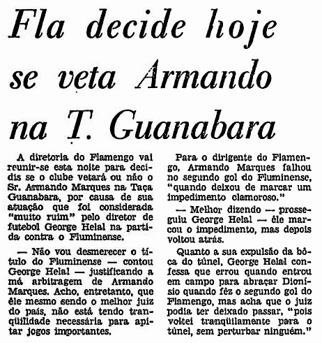 Fla pensando se veta o árbitro Armando Marques, no JB