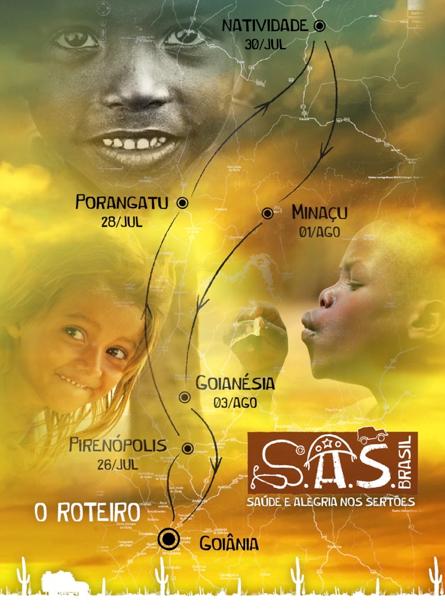 O trajeto que será percorrido pelo S.A.S Brasil