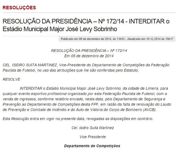 Veja resolução que interditou o estádio Major Levy Sobrinho em dezembro de 2014