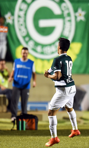 Erik Comemora Gol Goiás Emelec Copa Sul-Americana 15/10/2014