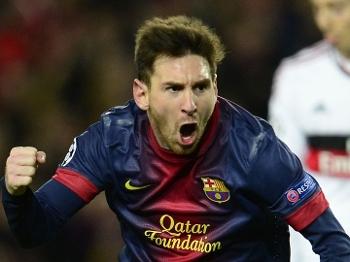 Messi vibra com segundo gol marcado na partida entre Barça e Milan