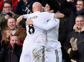 Inglês Swansea City Shelvey Ki Sung Manchester United 21/02/15