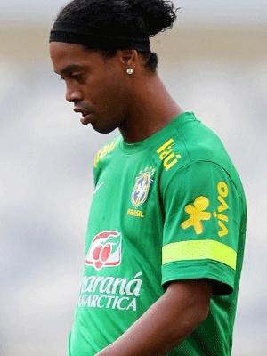 Ronaldinho Gaúcho, em treino com a seleção brasileira em Minas Gerais