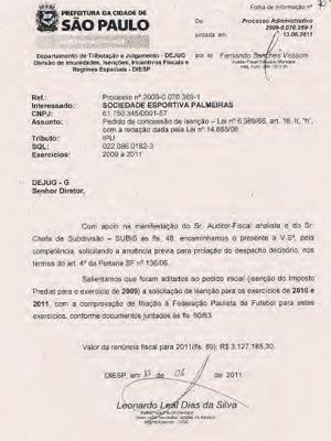 Documento que deu isenção fiscal em 2011