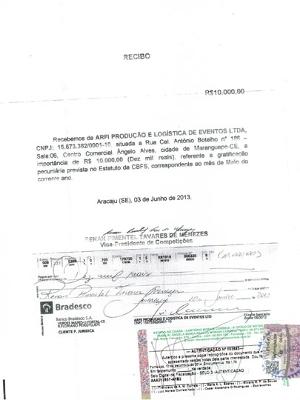 Comprovante de pagamento a Renan Menezes pela empresa Arfe